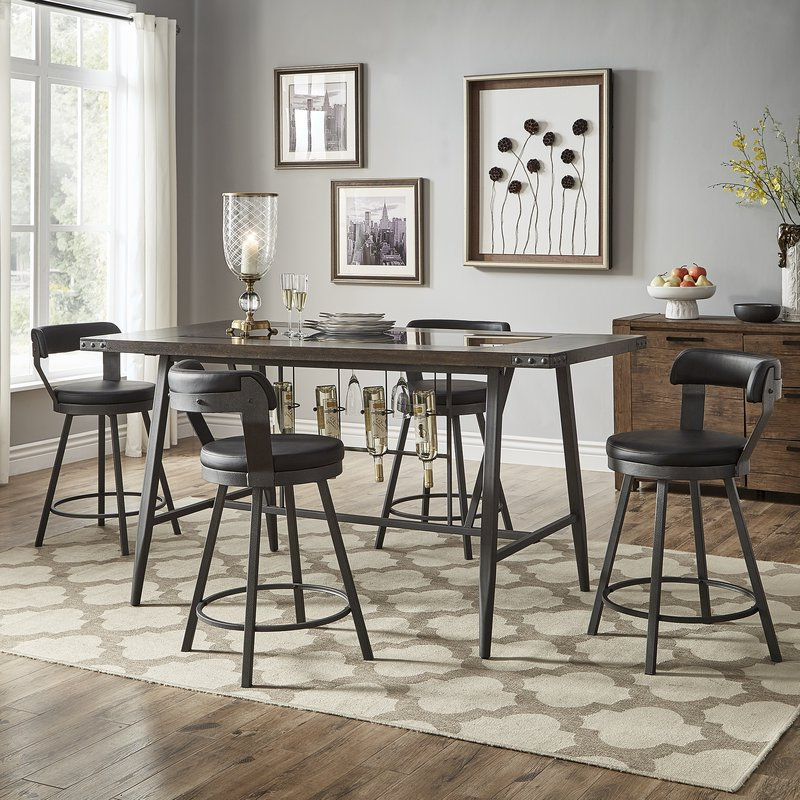 Presson 3 Piece Counter Height Dining Sets Throughout Fashionable Williston Forge Craighead 5 Piece Counter Height Dining Set (View 4 of 20)