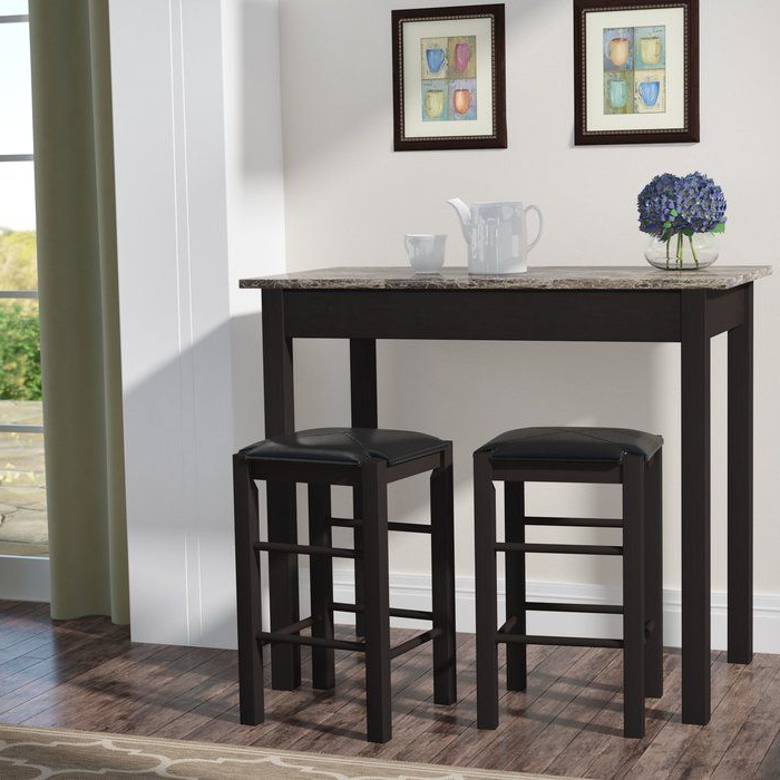 Prosser 3 Piece Counter Height Dining Set (Gallery 14 of 20)