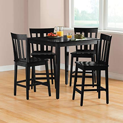 Recent 5 Piece Dining Sets Throughout Amazon – Mainstays 5 Piece Counter Height Dining Set, Black (View 15 of 20)