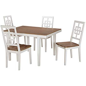 Recent Amazon – Tms Mason 5 Piece Dining Set Finish: White – Table Intended For Kieffer 5 Piece Dining Sets (View 15 of 20)