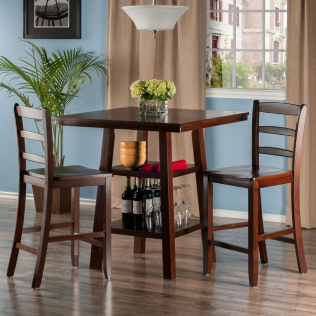 Recent Buy Winsome Wood Orlando 3 Piece Set High Table 2 Shelves With 2 Regarding Winsome 3 Piece Counter Height Dining Sets (View 14 of 20)