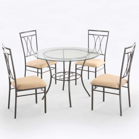 Recent Mainstays 5 Piece Glass And Metal Dining Set, 42 Inch Round Tabletop With Sundberg 5 Piece Solid Wood Dining Sets (View 10 of 20)