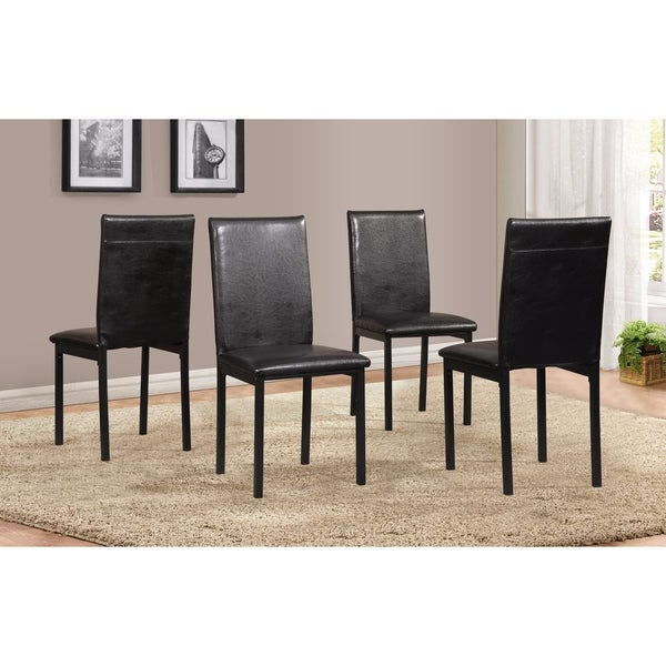 Recent Noyes 5 Piece Dining Sets With Regard To Shop Noyes Faux Leather Seat Metal Frame Black Dining Chairs, Set Of (View 15 of 20)
