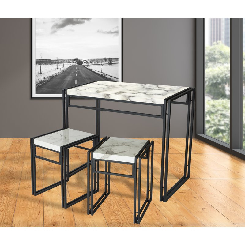 Recent Williston Forge Debby Small Space 3 Piece Dining Set & Reviews (View 13 of 20)