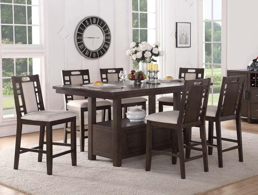 Recent Winsted 4 Piece Counter Height Dining Sets With Regard To Poundex Dining Room Table Set (View 15 of 20)