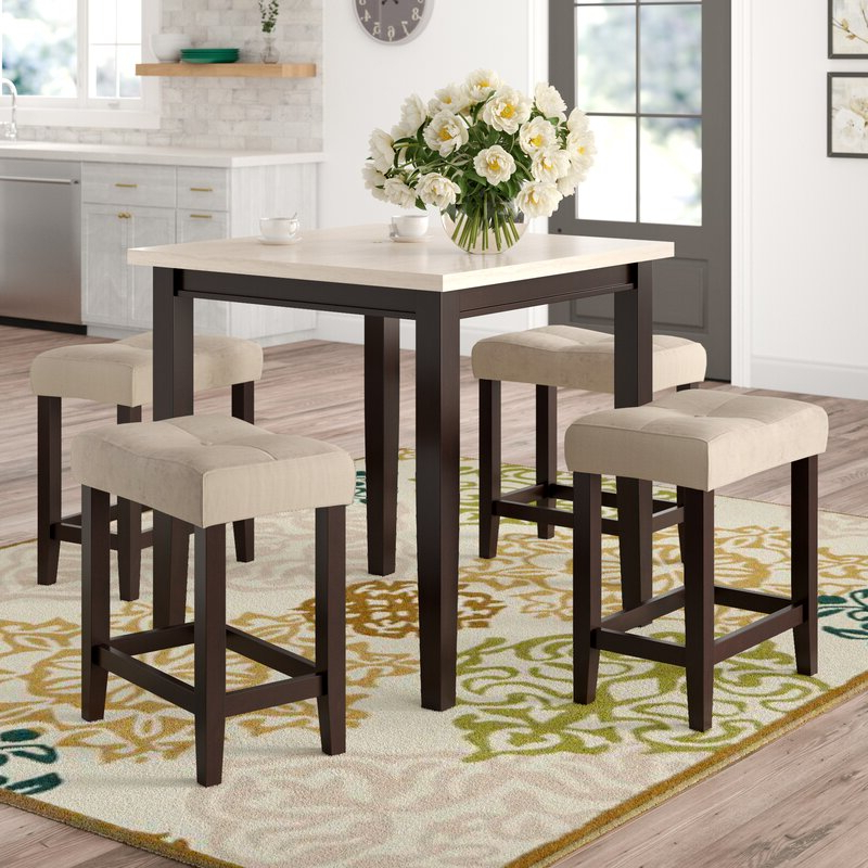 Red Barrel Studio Skeens 5 Piece Counter Height Dining Set & Reviews With Regard To Trendy Winsted 4 Piece Counter Height Dining Sets (View 7 of 20)