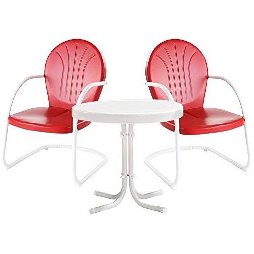 Retro Patio Furniture: Amazon Throughout Current Bate Red Retro 3 Piece Dining Sets (View 16 of 20)