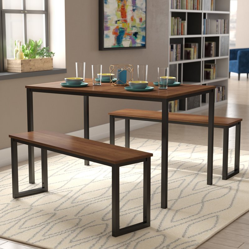 Rossiter 3 Piece Dining Sets Intended For Current Modern Rustic Interiors Frida 3 Piece Dining Table Set & Reviews (View 13 of 20)