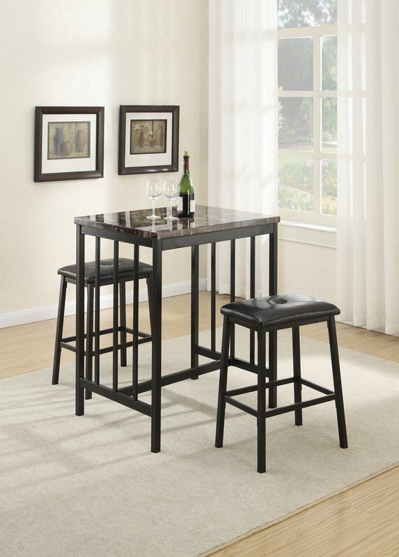 Rossiter 3 Piece Dining Sets Pertaining To Trendy Presson 3 Piece Counter Height Dining Set In  (View 14 of 20)