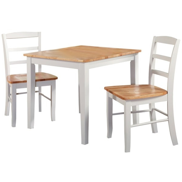 Shop 30 Inch Square Natural/ White 3 Piece Dining Set – Free Inside Well Known 3 Piece Dining Sets (Gallery 10 of 20)