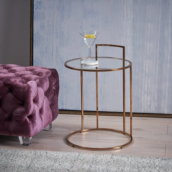 Shop Christopher Knight Home Isolde Glam Tempered Glass Side Table In Most Recent Isolde 3 Piece Dining Sets (Gallery 19 of 20)