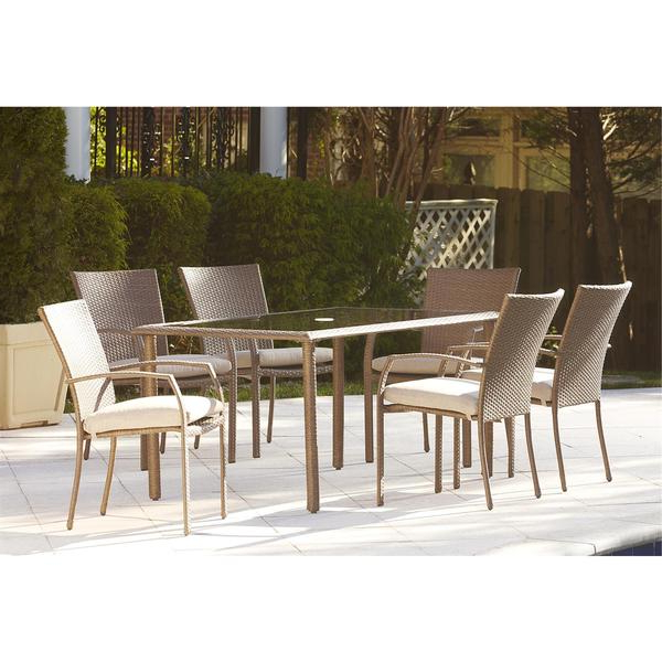 Shop Cosco Outdoor 7 Piece Steel Woven Wicker Patio Dining Set For Newest Saintcroix 3 Piece Dining Sets (Gallery 10 of 20)