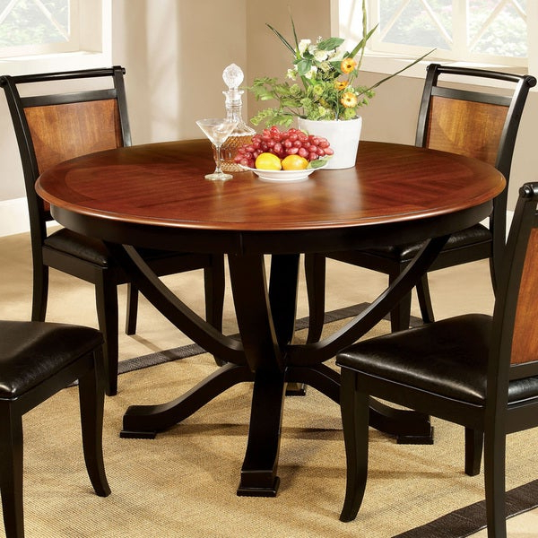 Shop Furniture Of America Lyda Transitional Black Acacia Round In Current Biggs 5 Piece Counter Height Solid Wood Dining Sets (Set Of 5) (View 10 of 20)