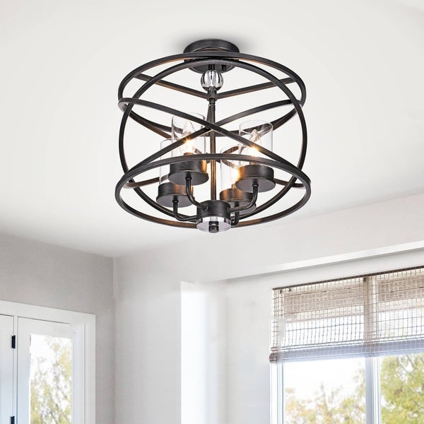 Shop Honoria Antique Black 4 Light Iron And Glass Pendant Chandelier Intended For Most Up To Date Honoria 3 Piece Dining Sets (View 13 of 20)