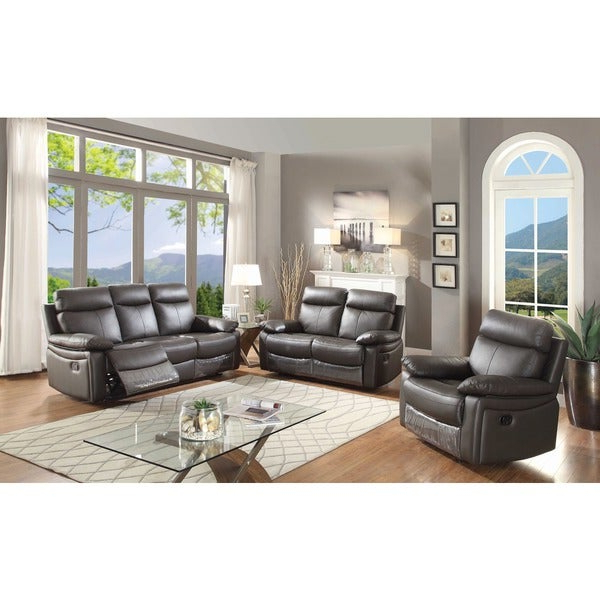 Shop Ryker Contemporary Leather 3 Piece Sofa Set With 5 Recliners Within Recent Ryker 3 Piece Dining Sets (Gallery 12 of 20)