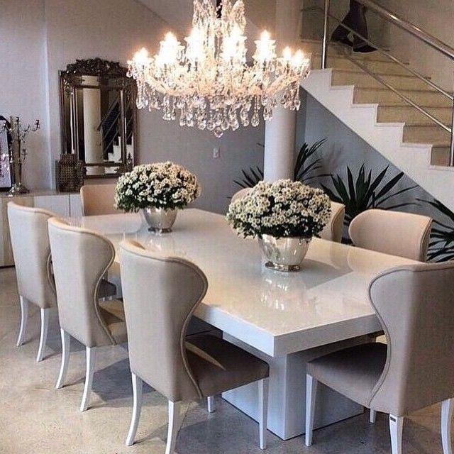 Sleek White Table With Ivory/beige Dining Chairs, Top Off The Within Well Known Kaelin 5 Piece Dining Sets (Gallery 17 of 20)
