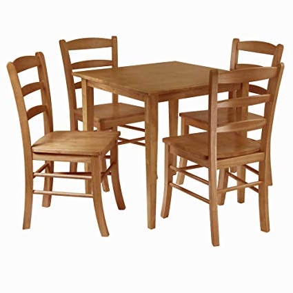 Sundberg 5 Piece Solid Wood Dining Sets For Recent Amazon – Winsome Groveland 5 Piece Wood Dining Set, Light Oak (View 6 of 20)