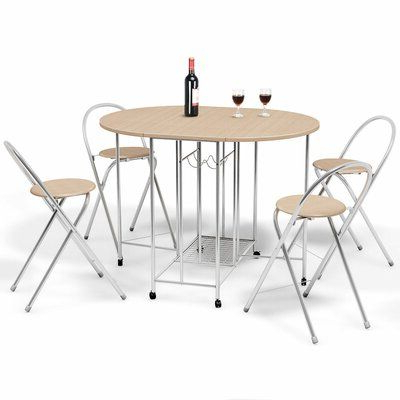 Sundberg 5 Piece Solid Wood Dining Sets Intended For Most Up To Date 5 Pcs Foldable Dining Set 1 Table And 4 Chairs (View 20 of 20)