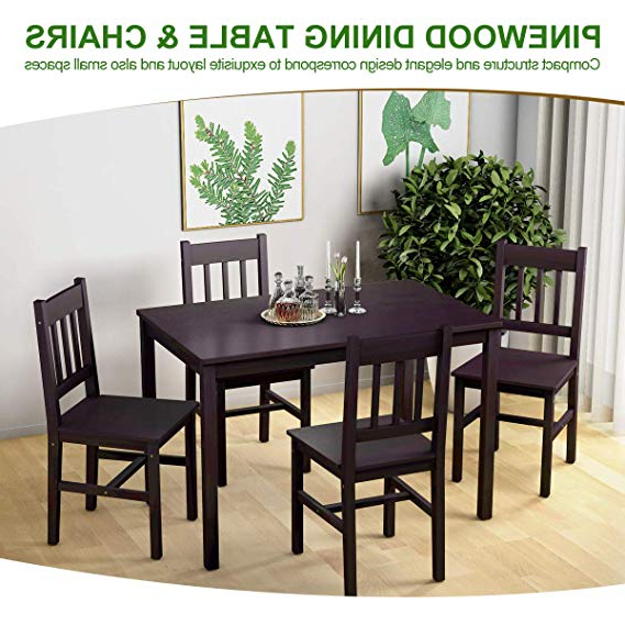 Sundberg 5 Piece Solid Wood Dining Sets Pertaining To Popular Giantex 5 Piece Wood Dining Table Set 4 Chairs Home Kitchen (View 16 of 20)