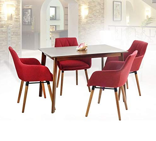 Sundberg 5 Piece Solid Wood Dining Sets Regarding Most Current Sk New Interiors Dining Kitchen Set Of 5 Rectangular Wooden Medium (View 12 of 20)