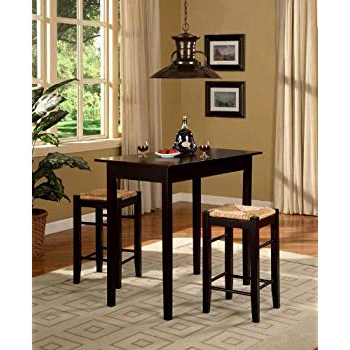 Tappahannock 3 Piece Counter Height Dining Sets Pertaining To Latest Amazon – 3 Pc Counter Dining Set In Espresso Finish – Table (View 20 of 20)