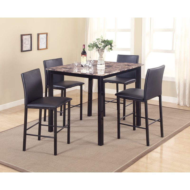Trendy Autberry 5 Piece Dining Sets For Red Barrel Studio Noyes 5 Piece Counter Height Dining Set & Reviews (View 9 of 20)