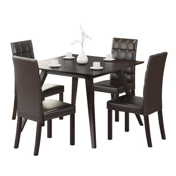 Trendy Corliving Atwood 5 Piece Dining Set With Dark Brown Leatherette With Biggs 5 Piece Counter Height Solid Wood Dining Sets (Set Of 5) (View 11 of 20)