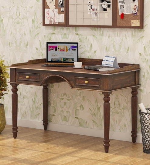 Trendy Evellen 5 Piece Solid Wood Dining Sets (Set Of 5) Pertaining To Buy Evelyn Solid Wood Study Table With Drawers In Provincial Teak (View 15 of 20)