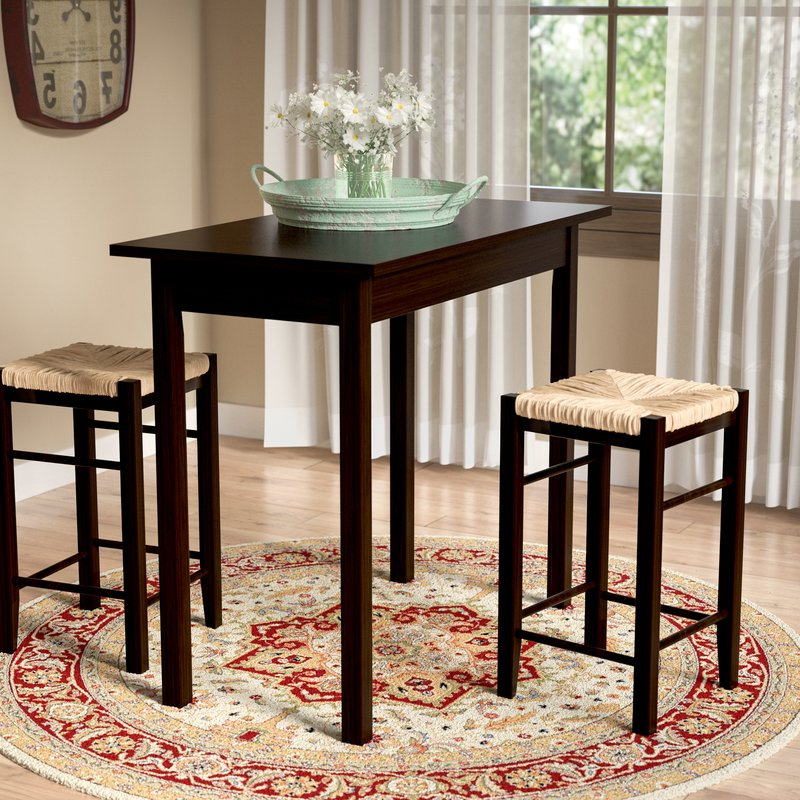 Trendy Poynter 3 Piece Drop Leaf Dining Sets With August Grove Tenney 3 Piece Counter Height Dining Set & Reviews (View 18 of 20)