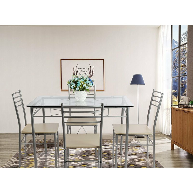 Turnalar 5 Piece Dining Sets Intended For Well Known Ebern Designs Liles 5 Piece Breakfast Nook Dining Set & Reviews (View 14 of 20)
