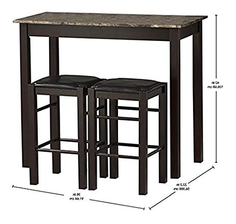 Valladares 3 Piece Pub Table Sets Within Popular Amazon – Linon Tavern Collection 3 Piece Table Set – Table (View 11 of 20)
