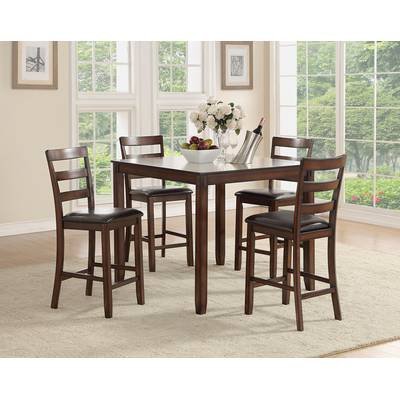 Wayfair Within Preferred Biggs 5 Piece Counter Height Solid Wood Dining Sets (Set Of 5) (View 18 of 20)