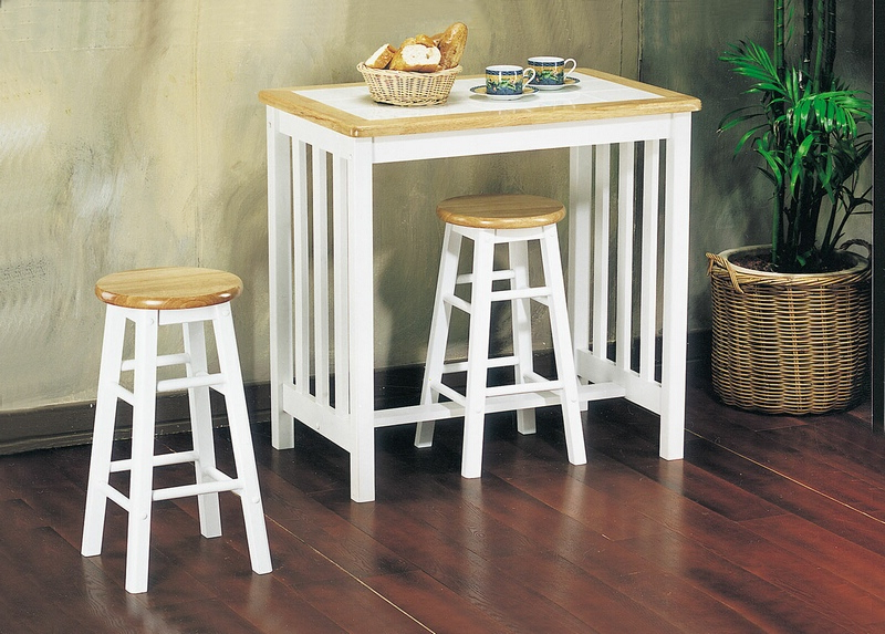 Well Known 3 Piece Breakfast Dining Sets Pertaining To 02140Nw 3 Pc Metro Natural And White Finish Wood Counter Height (View 17 of 20)