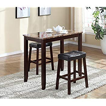 Well Known Amazon – Roundhill Furniture 3 Piece Counter Height Dining Set Throughout Moorehead 3 Piece Counter Height Dining Sets (View 17 of 20)