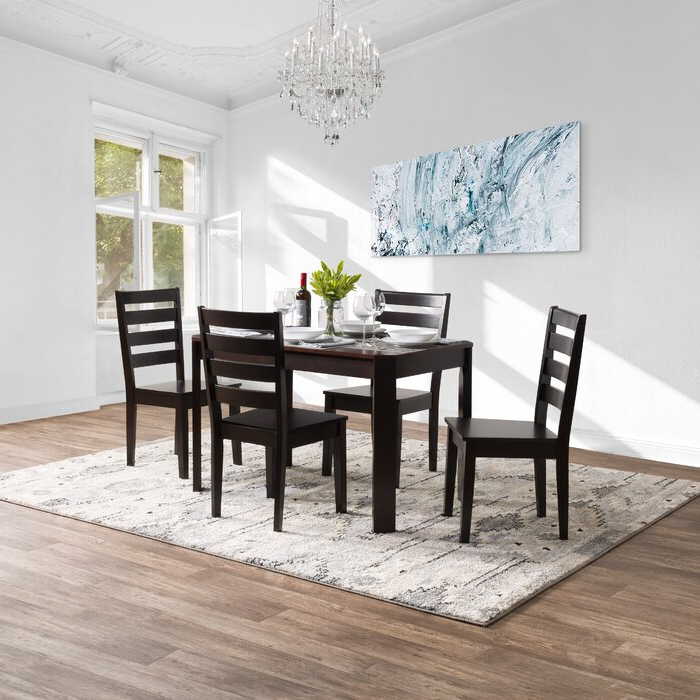 Well Known Breakwater Bay Goodman 5 Piece Solid Wood Dining Set (View 20 of 20)