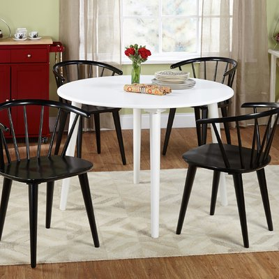 Well Known Emmeline 5 Piece Breakfast Nook Dining Sets With Regard To Mercury Row Calderone 5 Piece Dining Set Chair Finish: Black (View 18 of 20)