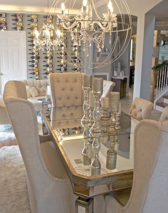 Well Known Glam Dining Room! I Am Obsessed With The Table, Chairs Centerpieces In Kaelin 5 Piece Dining Sets (Gallery 14 of 20)