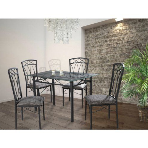 Well Known Home Source Industries 4380 Dining Table With Glass Top And 4 Chairs In Kieffer 5 Piece Dining Sets (View 18 of 20)