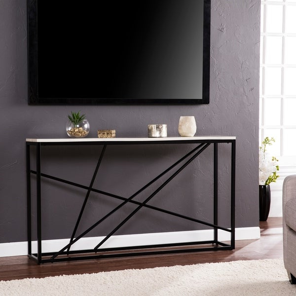 Well Known Kerley 4 Piece Dining Sets Regarding Shop Harper Blvd Kerley Faux Marble Skinny Console Table – Matte (View 20 of 20)