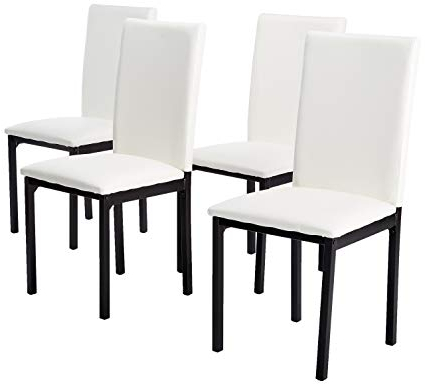 Well Known Noyes 5 Piece Dining Sets For Amazon – Roundhill Furniture C007Wh Noyes Faux Leather Metal (Gallery 13 of 20)