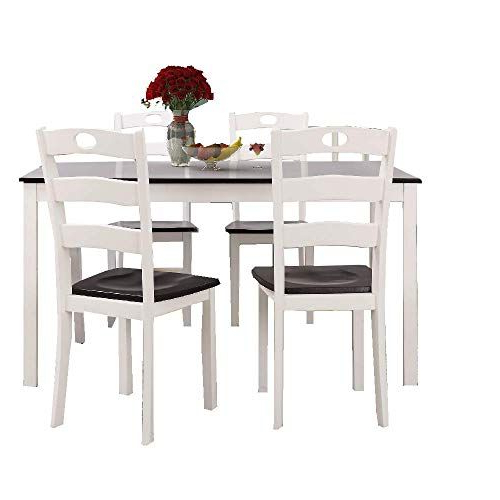 Well Known Sundberg 5 Piece Solid Wood Dining Sets Intended For Ats 5 Pc Dining Table Set Modern White Wood Dinner Chair Indoor (View 14 of 20)