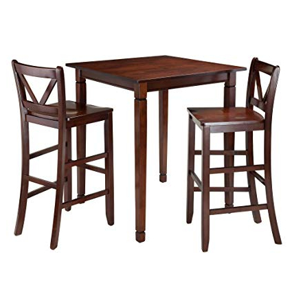 Well Known Winsome 3 Piece Counter Height Dining Sets Regarding Amazon – Winsome 3 Piece Kingsgate Dining Table With 2 Bar V (View 4 of 20)