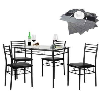 Well Known Zipcode Design North Reading 5 Piece Dining Table Set Color: Black Pertaining To North Reading 5 Piece Dining Table Sets (View 3 of 20)