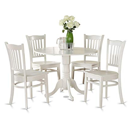 Well Liked 5 Piece Breakfast Nook Dining Sets For Amazon: East West Furniture Dlgr5 Whi W 5 Piece Kitchen Nook (View 7 of 20)