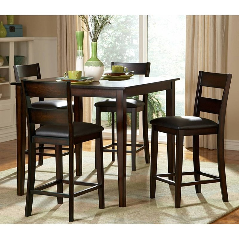 Well Liked Alcott Hill Biggs 5 Piece Counter Height Solid Wood Dining Set (Gallery 1 of 20)