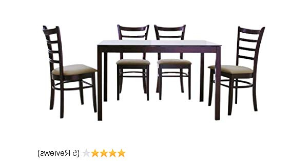 Well Liked Amazon – Baxton Studio Keitaro Dark Brown 5 Piece Modern Dining For Baxton Studio Keitaro 5 Piece Dining Sets (View 18 of 20)