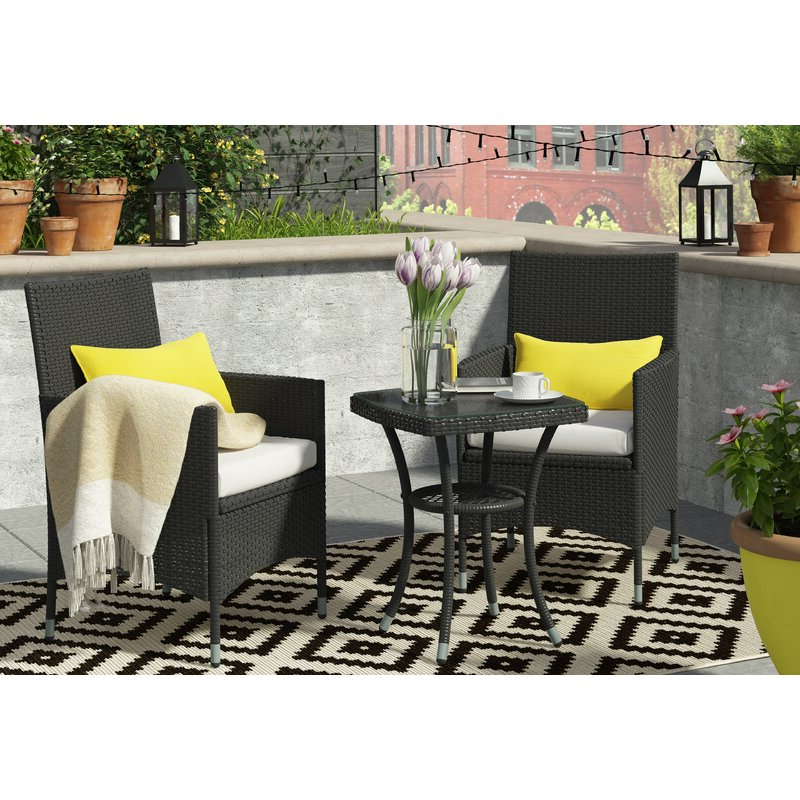 Well Liked Kinsler 3 Piece Bistro Sets Pertaining To Sol 72 Outdoor Kinsler 2 Seater Bistro Set With Cushions & Reviews (View 20 of 20)