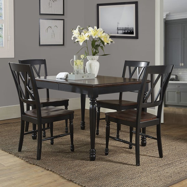Well Liked Laconia 7 Pieces Solid Wood Dining Sets (Set Of 7) Within Shop Shelby Black Wood 5 Piece Dining Set – Free Shipping Today (View 20 of 20)