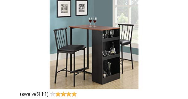 Well Liked Moorehead 3 Piece Counter Height Dining Sets Within Amazon – Isla 3 Piece Counter Height Dining Set With Storage (View 14 of 20)