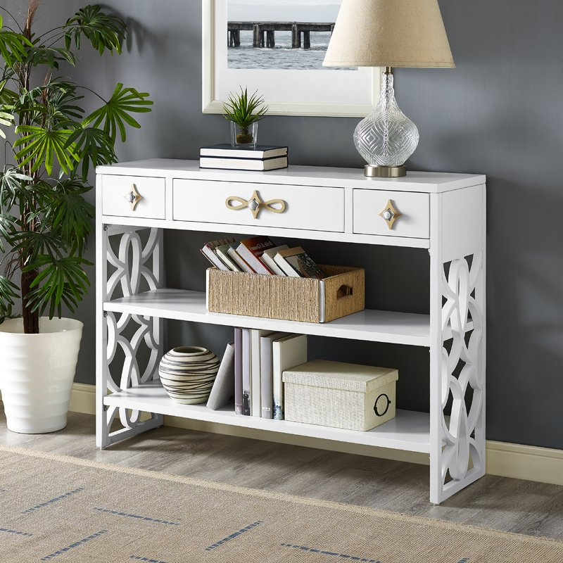 Well Liked Partin Modern White Three Drawer With Contrasting Overlays Console Intended For Partin 3 Piece Dining Sets (View 19 of 20)